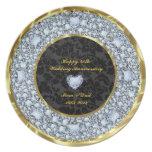 Diamantes, negro y aniversario de boda del oro 50. platos para fiestas