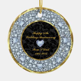 Diamantes, negro y aniversario de boda del oro adorno redondo de cerámica