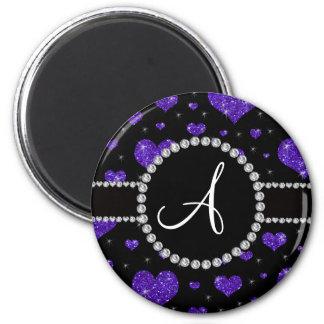Diamantes negros de los corazones púrpuras del imán para frigorifico