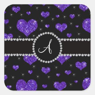 Diamantes negros de los corazones púrpuras del pegatina cuadrada