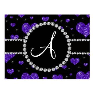Diamantes negros de los corazones púrpuras del postal