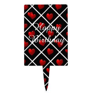 Diamantes negros de los corazones rojos figuras de tarta