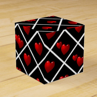 Diamantes negros de los corazones rojos cajas para regalos de boda