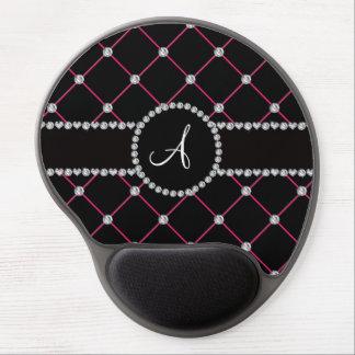 Diamantes negros del penacho del monograma alfombrillas con gel