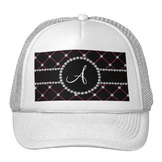 Diamantes negros del penacho del monograma gorras de camionero