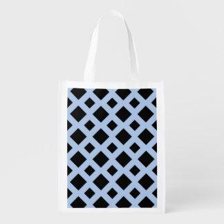 Diamantes negros en azul claro bolsas para la compra