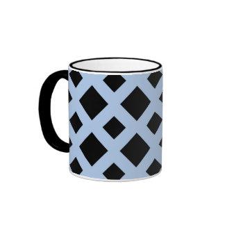 Diamantes negros en azul claro tazas