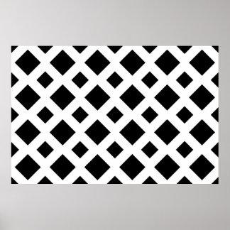 Diamantes negros en blanco posters