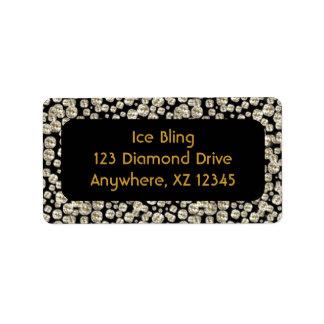 Diamantes negros etiqueta de dirección