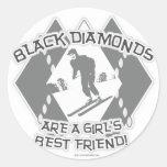 Diamantes negros pegatina redonda