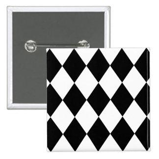Diamantes negros y blancos pin cuadrado