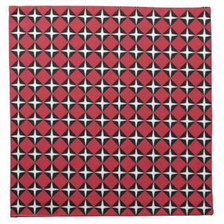 Diamantes negros y blancos rojos de la estrella servilletas imprimidas