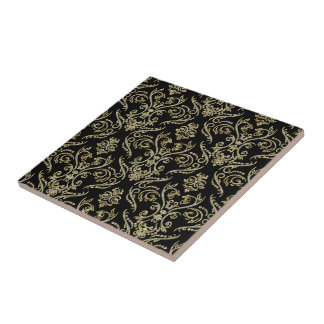 Diamantes negros y damascos florales de los tonos  azulejo cuadrado pequeño