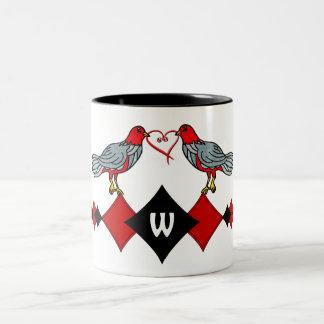 Diamantes, pájaros y corazón retros Worms_Monogram Taza