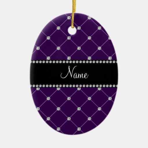 Diamantes púrpuras conocidos personalizados ornamentos de navidad