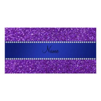 Diamantes púrpuras conocidos personalizados del br tarjetas con fotos personalizadas