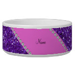 Diamantes púrpuras conocidos personalizados del tazones para perrros
