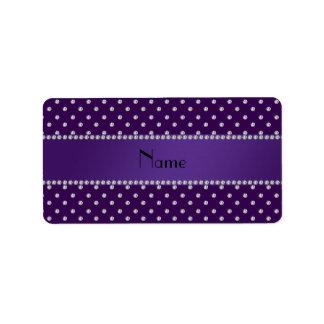 Diamantes púrpuras conocidos personalizados etiqueta de dirección