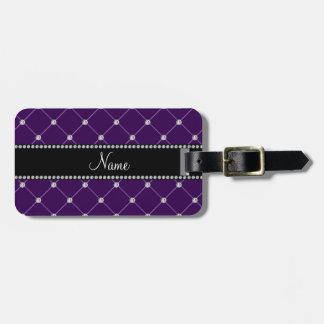 Diamantes púrpuras conocidos personalizados etiqueta de equipaje