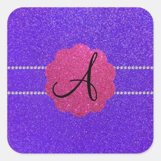 Diamantes púrpuras del monograma del brillo pegatina cuadrada