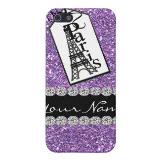 Diamantes PÚRPURAS elegantes de Bling París 4s y iPhone 5 Fundas