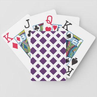 Diamantes púrpuras en blanco baraja