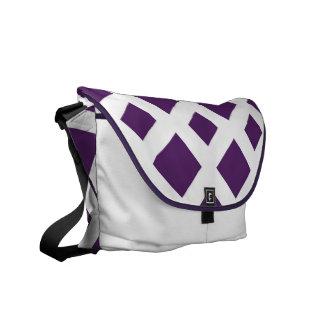 Diamantes púrpuras en blanco bolsa de mensajeria