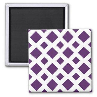 Diamantes púrpuras en blanco imán cuadrado