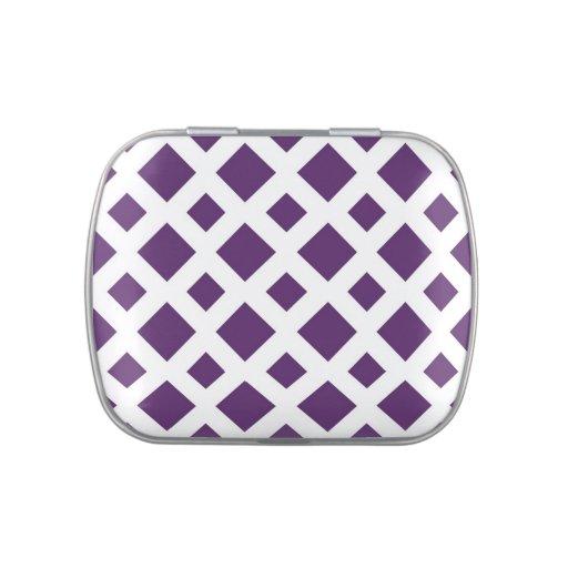 Diamantes púrpuras en blanco latas de caramelos
