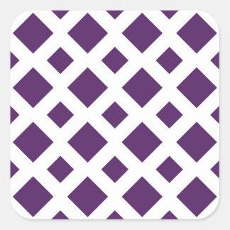 Diamantes púrpuras en blanco pegatinas cuadradas