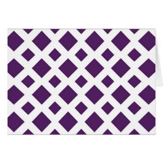 Diamantes púrpuras en blanco tarjeta de felicitación
