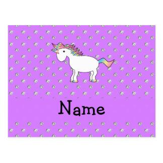 Diamantes púrpuras en colores pastel personalizado postales