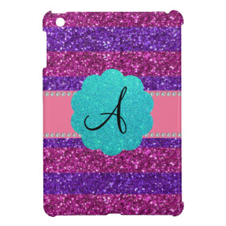 Diamantes púrpuras rosados del monograma del brill iPad mini cárcasas