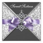 Diamantes púrpuras y fiesta de cumpleaños negra anuncios personalizados
