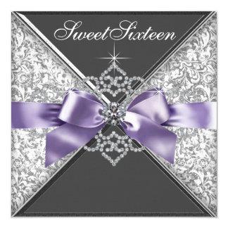"""Diamantes púrpuras y fiesta de cumpleaños negra invitación 5.25"""" x 5.25"""""""