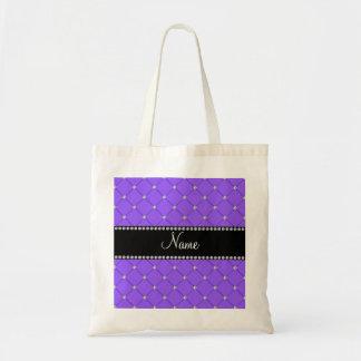 Diamantes purpúreos claros conocidos personalizado bolsas de mano