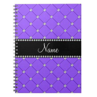 Diamantes purpúreos claros conocidos personalizado notebook