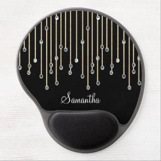 Diamantes que llueven personalizados elegantes alfombrilla para ratón de gel