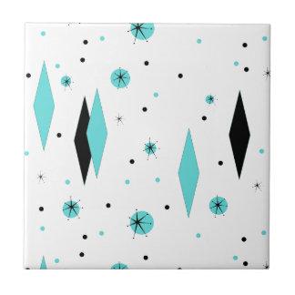 Diamantes retros de la turquesa y baldosa cerámica azulejo cuadrado pequeño