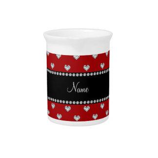 Diamantes rojos conocidos personalizados del coraz jarras para bebida