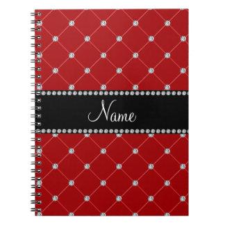 Diamantes rojos conocidos personalizados cuadernos