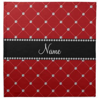 Diamantes rojos conocidos personalizados servilleta imprimida