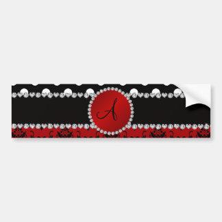 Diamantes rojos de los lunares del negro del damas etiqueta de parachoque