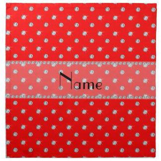 Diamantes rojos de neón conocidos personalizados servilleta imprimida