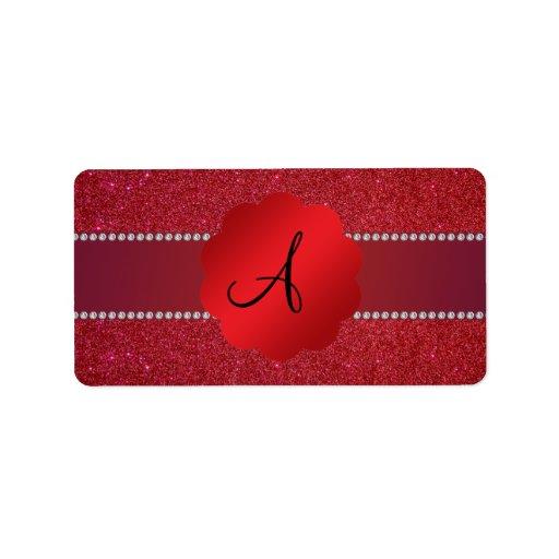 Diamantes rojos del monograma del brillo etiquetas de dirección