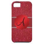 Diamantes rojos del monograma del brillo iPhone 5 Case-Mate carcasas