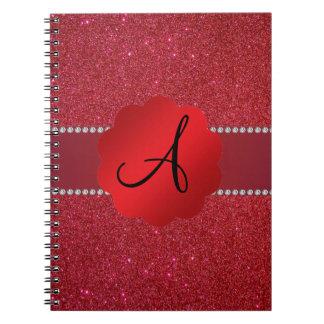 Diamantes rojos del monograma del brillo libros de apuntes