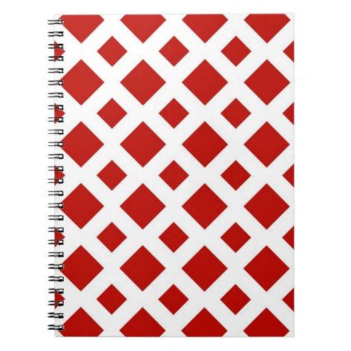 Diamantes rojos en blanco cuaderno