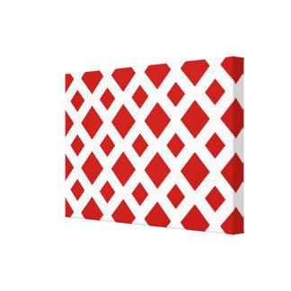 Diamantes rojos en blanco impresión en lona estirada