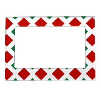 Diamantes rojos y verdes en blanco marcos magnéticos para fotos